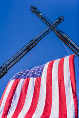 honor guard (pbo31) Tags: livermore california alamedacounty eastbay nikon d810 color september summer 2018 boury pbo31 america flag usa firefighter memorial death funeral service firetruck blue red cross ladder extension truck tall arch salute respect