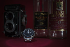 Welcome to the Sixties (Rene'D.) Tags: 2018 omega speedmaster professional roleiflex camera whisky hart brothers macallen highland park analog tabletop moonwatch