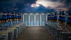 Beach cabin (Gilles Bourdreux Photography) Tags: italie architecture ligurie noli beach cabine plage transat europe cityscape ciel sky sunrise sea seascape landscape lumières travel dream d610 bleu mer ambiance