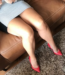 MyLeggyLady (MyLeggyLady) Tags: toe upskirt sex hotwife milf sexy secretary teasing thighs minidress cleavage feet crossed pumps stiletto leather red cfm legs heels