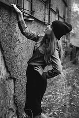 (Borland J.) Tags: forest leaffall yamaha dragstar motorcycle bike hat portrait autumn slant look eye sight bokeh red blue window texture woman russia тында tynda canon 18 50mm hair fall wall girl beauti beautiful green gate metal finger improvisation hole hold me holdme pose posture