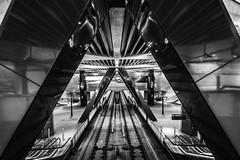 Noord/Zuidlijn Centraal Station (Dannis van der Heiden) Tags: escalator noordzuidlijn subway amsterdam metro station lines ceiling netherlands entrance exit d750 tokina1628mmf28 nikond750 blackwhite blackandwhite monochrome reflection