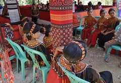 INDONESIEN, Sulawesi - Traditionelle Totenfeier der Toraja bei Makale, 17640/10651 (roba66) Tags: sulawesi urlaub reisen travel explore voyages rundreise visit tourism roba66 asien asia indonesien indonesia insel celebes island île insulaire isla toraja tanahtoraja volk brauchtum tradition «torayavillage» ahnenkult mythen beerdigungsriten riten beerdigung bestattung funeral puya zeremonieplatz totenfeier opfer wasserbüffel schweine pigs buffalo feier mädchen girl kinder child children fest kleidung cloth woman women frauen lady