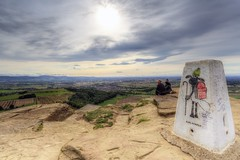 Roseberry Topping (ca2cal) Tags: england northyorkshire north yorkshire moors northyorkshiremoors greatayton roseberry topping roseberrytopping cleveland clevelandhills hill rock trigpoint graffiti shaunthesheep shaun sheep karlstriker landscape sky cloud skyscape hdr people website