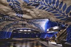 T-Centralen (Douguerreotype) Tags: people sverige blue steps tunnel underground art urban sweden stockholm tbana city stairs escalator architecture tunnelbana subway tube station