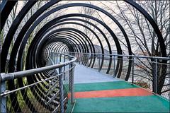 Slinky springs bridge (Eva Haertel) Tags: eva haertel canon5dmarkiii stadt city deutschland germany oberhausen brücke bridge fusgänger walkeer modern architektur architecture design kaisergarten spirale spiral bunt colorful kanal shipcanal