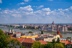 Hungarian Parliament & Danube (Gary Wolfson) Tags: architecture budapest clouds europe familyvacation hungary travel water