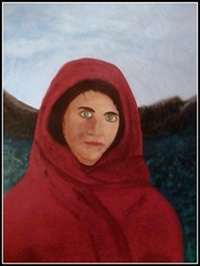 The Valley Girl - Acrylic Painting by A Relative Who Wanted Me To Post This With His Permission - Painted On  March 6, 2013 - This Photo Of This Painting Was Taken On December 25, 2015 by STEVEN CHATEAUNEUF (snc145) Tags: art painting face expression thevalleygirl red acrylic sky mountains outdoor nationalgeographic greeneyes