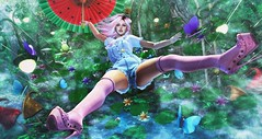 Bayou Wonderland (clau.dagger) Tags: poseidonposes whimsical bento windy wind poses umbrella rain storm okinawasummerfestival chuing outfit gacha schadenfreude wagasa paradol japan kawaii enchantment thefrogprince mooh landscape serenitystyle decor snowpaw crown thelookingglass trees tableauvivant insol catwa maitreya anc eve