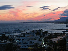 Night Lighting! ('cosmicgirl1960' NEW CANON CAMERA) Tags: marbella spain espana andalusia costadelsol sunset sky clouds colourful lights travel holidays yabbadabbadoo