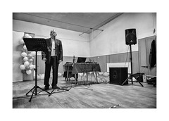 Evening show (Paphylo) Tags: leicaq caravan people reallife evening carny countryside weddingindoor carnies groom přelouč show musician blackandwhite monochrome singer village countrylife document