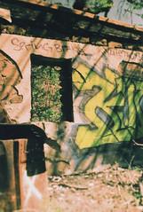 Fujica ST Vogel Flats Stone House Ruins 2 (▓▓▒▒░░) Tags: tiltshift bokeh fuji fujica slr japan chrome xpro sensia cross process la los angeles california west coast history travel landscape light shadow analog mechanical style design classic retro vintage 35mm film camera fashion abandoned ruin aritfact fire wildfires forest canyon architecture building concrete infrastructure