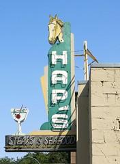 HAP'S Pleasanton, Calif. (hmdavid) Tags: vintage neon sign haps steak seafood restaurant california pleasanton horse cocktail glass