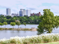 Gather At the River (clarkcg photography) Tags: tulsa arkansasriver trees buildings clouds landscape water 7dwf