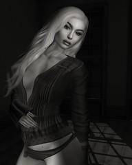 Naturalness (Charles Parker_) Tags: lu charlesparker virtualart sl secondlife monochrome blackwhite bw fashion hairstyle portrait sexy sensual