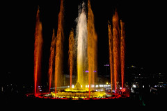 The Magic Fountain Of Montjuïc (Fnikos) Tags: plaça plaza parc park parco montjuic montjuïc city architecture column fountain fontaine fuente water music magic colour color light night sky show nightshow nightview outdoor