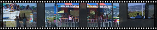 Spiegelung im Zugfenster ( Chilbi / Kirmes )