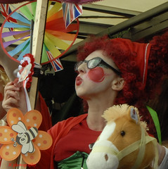 Widow Twanky (Johns Journeys) Tags: carneval float fun makeup colours red smikes bubbkes