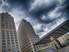 Gathering clouds II (Elenovela) Tags: berlin deutschland germany potsdamerplatz architektur architecture gewitter thunderstorm wolken clouds regen rain hdr gebäude buildings himmel sky wolkenkratzer skyscraper panasonicgh5 leicadg1260mmf2840 elenovela karstenmüller