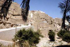 Al-Hajarein - Entrance road to the village (motohakone) Tags: jemen yemen arabia arabien dia slide digitalisiert digitized 1992 westasien westernasia ٱلْيَمَن alyaman kodachrome paperframe
