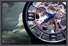 Watching the weather (MoparMadman63) Tags: art time watch creative collage wristwatch number numeral precision gears hands clouds weather frame abstract macro closeup illusion