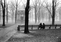 020471 31 (ndpa / s. lundeen, archivist) Tags: nick dewolf nickdewolf blackwhite blackandwhite 35mm film photographbynickdewolf bw february 1971 1970s boston massachusetts park common bostoncommon bandstand parkmanbandstand trees walkway path pathway people seated sitting bench benches parkbench parkbenches trashcan garbagecan