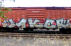 """JAKER"" (arrowlakelass) Tags: graffiti paint steel boxcars train freight railway cpr p1190997"