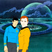 Spock and Captain Kirk animation cel from Star Trek; The Animated Series (1973)