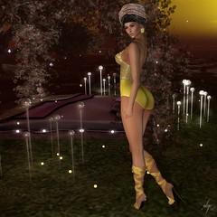 Yellow Temptation (Algezares (III)) Tags: ghee swimsuit headwrap ribbon sandals earrings lights darkness secondlife sexy sensual maitreya mesh lelutka