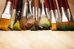 Various Used Wooden Paintbrushes (dejankrsmanovic) Tags: paintbrush brush stick bar artistic tool equipment artful kit model wooden wood red studio creative object stilllife creativity simple concept conceptual dirty colorful color abstract closeup detail structure natural classical skill background