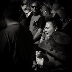 intense situation (Mallybee) Tags: mirrorless m43 stphotographia moody women streetphoto dcg9 g9 lumix panasonic 1235mm f28 intense bw blackwhite crowd mystery