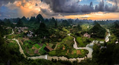 Fantasy Land (Dan_Fr) Tags: yangshuo guangxi cuiping guilin china asia karst landscape travel hill mountain sunset goldenhour river water house amazing scenery surreal rural viewpoint vista field grass sony a7r panorama cloud village