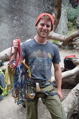 Mountain climber with some of his gear (Randy Gardner 88) Tags: yosemite yosemitenationalpark california nationalparkservice nationalparksamericasbestidea trees mountains granite cliffs waterfalls waterfall merced mercedriver yosemitevalley may2016 2016