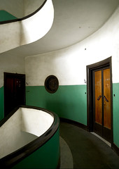 Art Deco building, Horn Of Africa, Asmara, Eritrea (Eric Lafforgue) Tags: africa architecture artdeco asmara asmera building capitalcities colonialitalianarchitecture color colour day door eastafrica eritrea green horizontal hornofafrica indoors italian italiancolonialempire italiancolony maekelregion modernistarchitecture photography stair stairs vertical no people