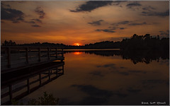 Sunset at the Dock (scottnj) Tags: sunset colorful lake orange sun sky clouds sundown scottnj scottodonnellphotography dock lakehurst nj newjersey water oceancounty