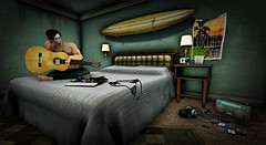 Drive Home (Loegan Magic) Tags: secondlife nativesoul room hotelroom guitar male modelpose depression isolation sadness stevenwilson lyrics song surfboard hotel motel