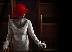 Being Wary (coollessons2004) Tags: mystery mysterious woman red beauty beautiful white dress