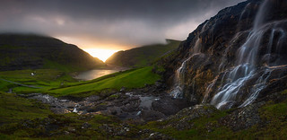 Waterfall pano at sunset