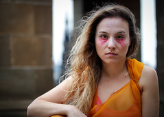 Portrait from the 2018 Edinburgh Festival Fringe - The Bacchanals (Gordon.A) Tags: scotland edinburgh fringe edinburghfestival edinburghfestivalfringe edfringe edfest august 2018 embra auldreekie dùnèideann festival festiwal festivaali festivalen wyl féile festspiele actor actress artist arts artsfestival performingarts performingartsfestival performer performers bacchanals euripides bacchae mikra theatricals theatre greek mythology comedy pretty woman lady face people orange costume creative culture urban city outdoor outdoors outside day daylight pose posed portrait colour color colourful colourportrait colourstreetportrait naturallight naturallightportrait portraitphotography digital canon eos 750d sigma sigma50100mmf18dc lens