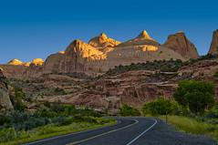 Navajo Dome at Sunrise (William Horton Photography) Tags: capitolreefnationalpark entradasandstone highway24 navajodome navajosandstone utah cliffs dawn dome geology horizontal morning sandstone sunrise torrey unitedstates us