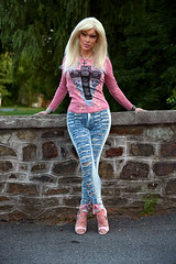 Pink top and heels (Juliapanther Over 54 million views, thanks!!!) Tags: tgirl tg julia panther juliapanther posing jeans pink top high heels model denim tight blond hoops nails legs long portrait makeup barbie blonde lips makeover pinup diva true colors artistry amanda richards modeling outside nail