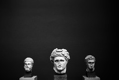 Three Heads (ALGHIME) Tags: bnw blackandwhite bw monochrome monochromatic black white grey film analogue analog leica m6 glyptoteket glyptotek bust busts sculpture sculptures heracles ancient greece grainy highiso museum exhibition marble art negative space 3