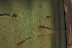 RICH (1991) (TheGraffitiHunters) Tags: graffiti graff spray paint street art colorful benching benched freight train tracks moniker streak markal rich 1991