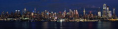 Midtown evening panorama (sonic182) Tags: midtown manhattan new york city united states america panorama evening night dusk blue hour reflection reflections empire state building intrepid hudson river hamilton park weehawken jersey nj ny usa usa2018 wide