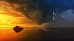 Island During Golden Hour And Upcoming Storm (toptenalternatives) Tags: clouds dawn dramatic dusk hd wallpaper island lightning ocean reflection sea storm sunset thunderstorm water weather