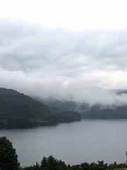 randolph lake 2 (GAWV) Tags: lake fog mountains randolph jennings clouds water railroad island trees rain bridge wv mineral vacation watershed waves ripples rocks