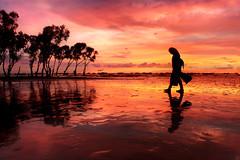 Beach and she <3 (smileofafairy) Tags: beach sunset sunsetting sundown evening her she trees sky clouds reflection