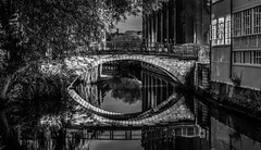 Evening's   end...  (2of 3). (Explore #215) (+Pattycake+) Tags: goinghome eveningsend street people norwich architecture buildings evening city walking monochrome bw blackandwhite water tree arch reflection windows brickwork