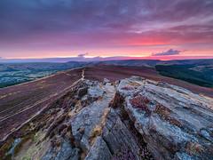 Win Hill afterglow (Stephen Elliott Photography) Tags: peakdistrict derbyshire hopevalley bamford win hill dark peak sunset afterglow summer heather olympus 714mm kase filters