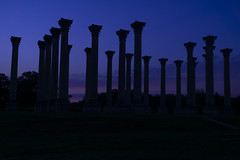 Morning Breaks over the National Capitol Columns (johngoucher) Tags: approved capitolcolumns nationalarboretum outdoors architecture columns sky washingtondc arboretum sun night dawn sonyimages morning skyscape silhouette clouds